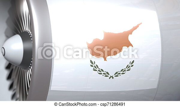 National flag of Cyprus on airliner tourbine engine. Aviation related 3D rendering - csp71286491
