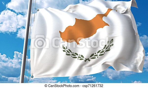 National flag of Cyprus on sky background. 3D rendering - csp71261732
