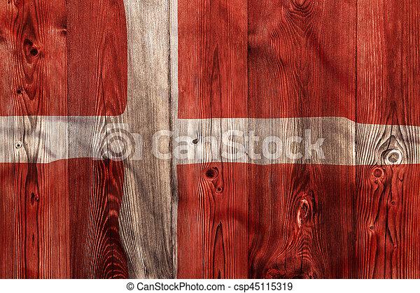National flag of Denmark, wooden background - csp45115319