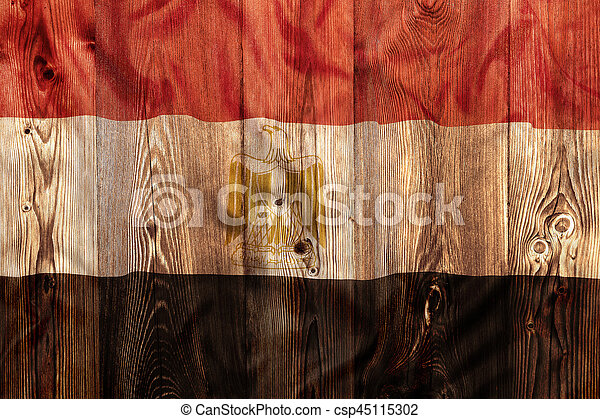 National flag of Egypt, wooden background - csp45115302
