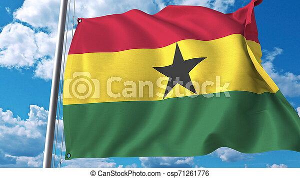 National flag of Ghana on sky background. 3D rendering - csp71261776