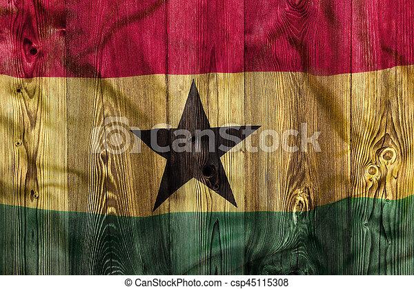 National flag of Ghana, wooden background - csp45115308