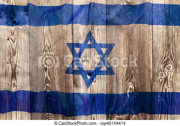 National flag of Israel, wooden background - csp45104414