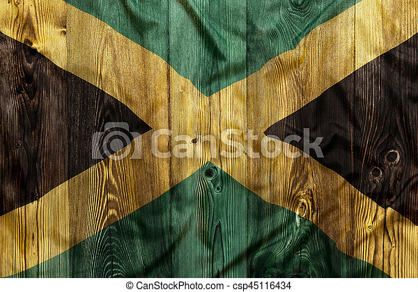 National flag of Jamaica, wooden background - csp45116434