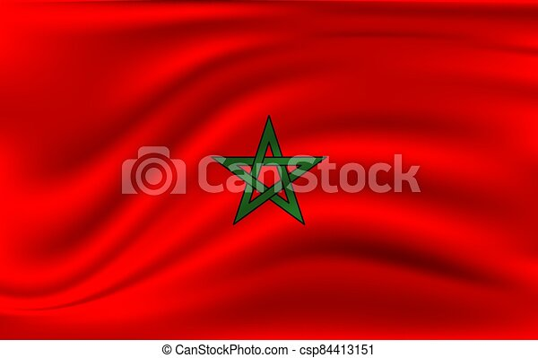 National flag of Morocco. Realistic vector illustration. - csp84413151