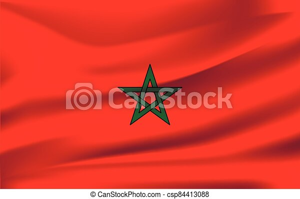 National flag of Morocco. Realistic vector illustration. - csp84413088