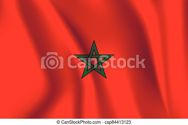 National flag of Morocco. Realistic vector illustration. - csp84413123