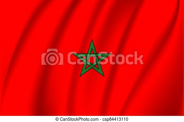 National flag of Morocco. Realistic vector illustration. - csp84413110
