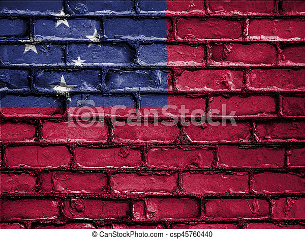 National Flag of Samoa on a Brick Wall - csp45760440