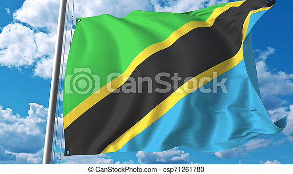 National flag of Tanzania on sky background. 3D rendering - csp71261780