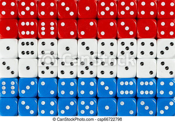 National flag of the Netherlands in background of dices - csp66722798