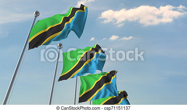 National flags of Tanzania. 3D rendering - csp71151137