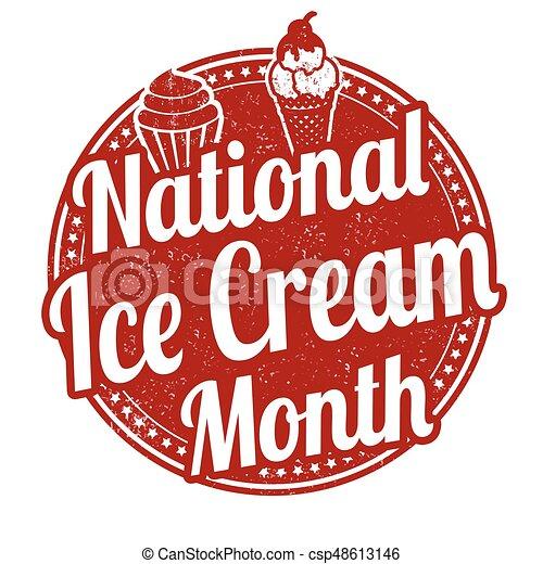 National ice cream month stamp - csp48613146