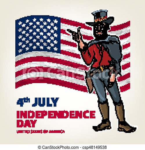 national independence day of the cowboy background Vintage Retro Clip Art. Sketch vector illustration - csp48149538