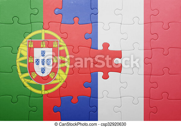 National puzzle drapeau portugal france concept - Dessin drapeau portugal ...