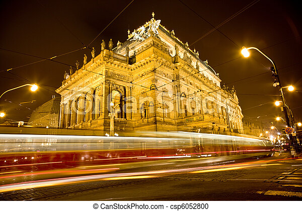 National Theater in the night with trams - csp6052800