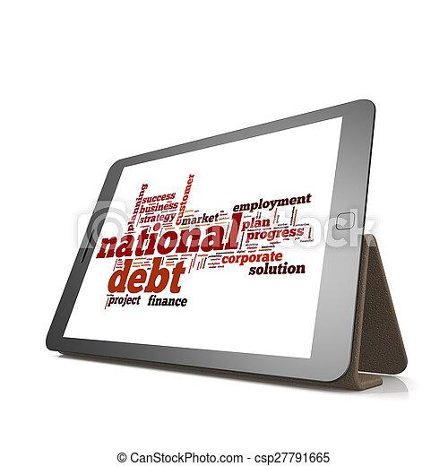 nationale, schuld, woord, wolk, tablet - csp27791665