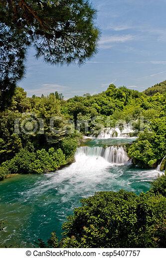 nationalpark, wasserfall, krka, kroatien, landschaftsbild - csp5407757