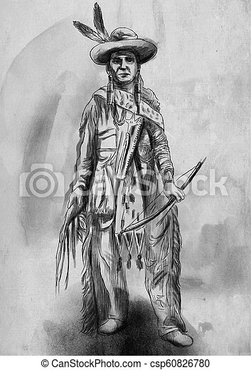 Native American An Hand Drawn Illustration Freehand Sketching