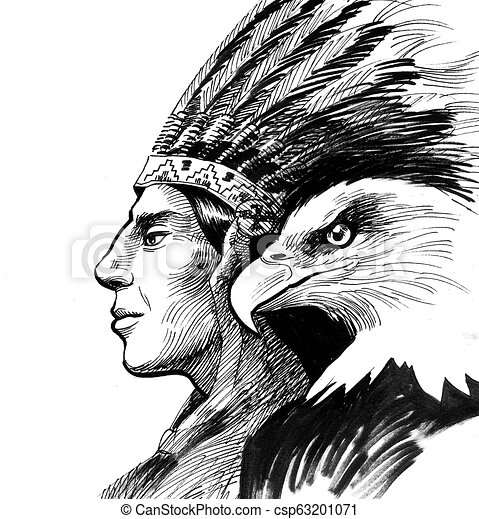 Ink Black And White Drawing Of A Native American And Eagle