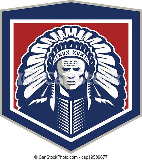 Native American Chief Shield Retro - csp19589677