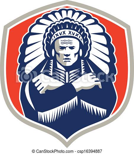 Native American Chief Warrior Headdress Retro - csp16394887