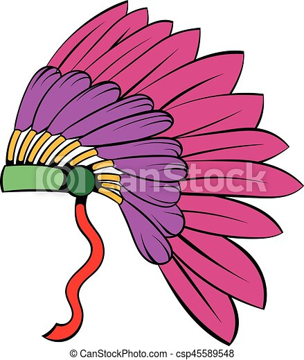 native american feather headdress icon cartoon native eps vector rh canstockphoto com indian headdress clipart black and white indian feather headdress clipart