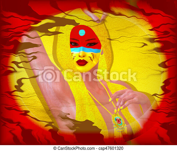 Native American Girl with abstract colorful painted face in or unique 3d render art style. - csp47601320