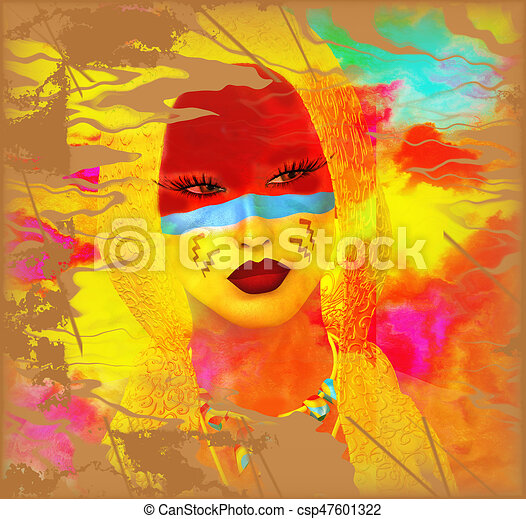 Native American Girl with abstract colorful painted face in or unique 3d render art style. - csp47601322