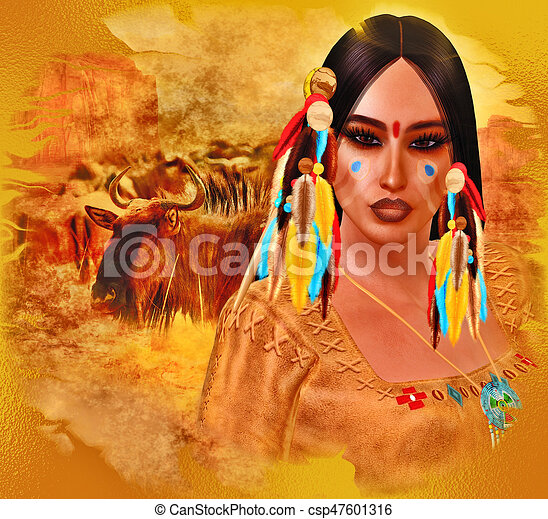 Native American Girl with abstract colorful painted face in or unique 3d render art style. - csp47601316
