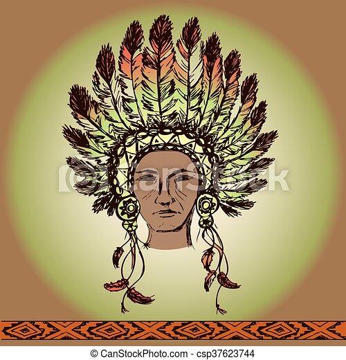 Native American Head - csp37623744