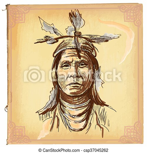 Native American, Indian - An hand drawn vector sketch, freehand - csp37045262