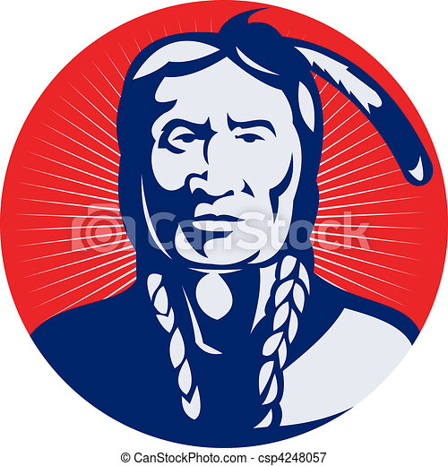 native american indian chief facing front view. - csp4248057