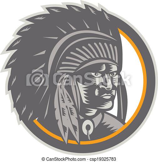 Native American Indian Chief Head Woodcut - csp19325783