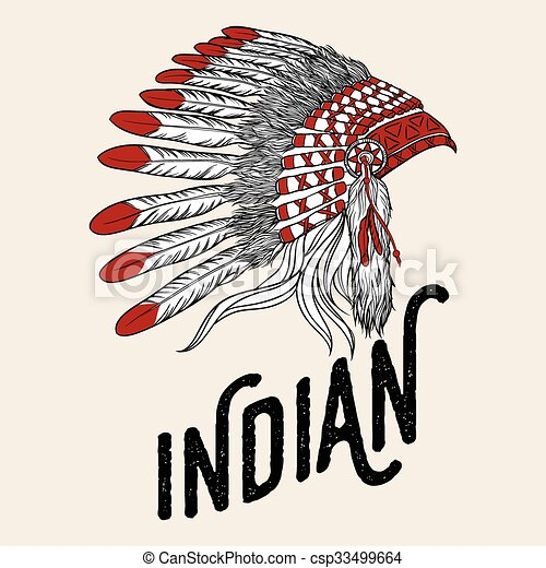 native american indian chief headdress vector illustration vintage rh canstockphoto com Indian Chief Skull Logo Indian Chief Clip Art