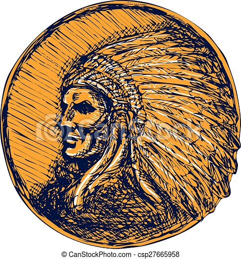 Native American Indian Chief Headdress Drawing - csp27665958