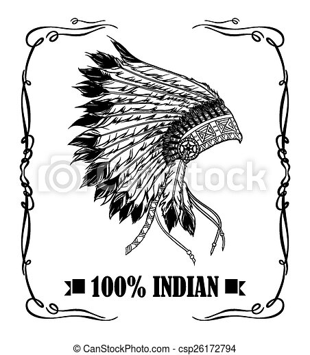 Native american indian chief headdress. Whiskey label design. Ve - csp26172794