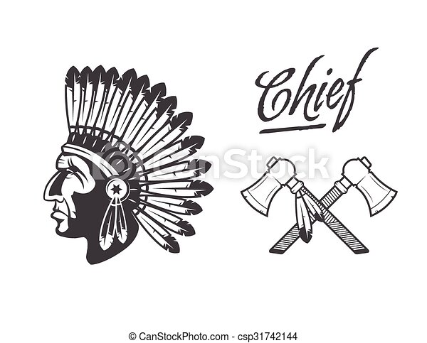 native american indian chief headdress - csp31742144