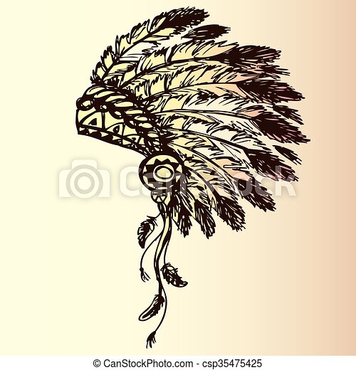 native american indian chief headdress - csp35475425