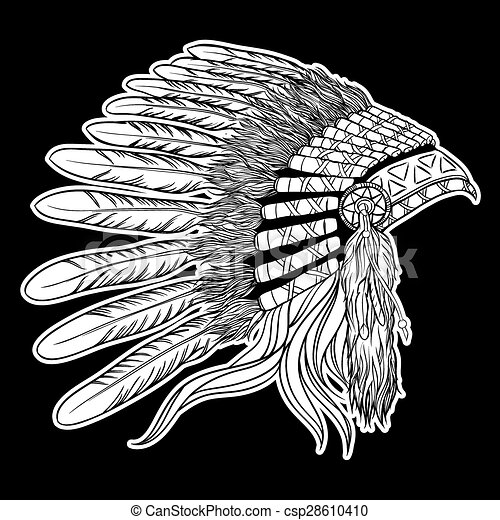 Native american indian chief headdress. Vector illustration on black background - csp28610410