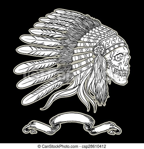 Native american indian chief headdress. Indian skull vector illustrationon black background - csp28610412