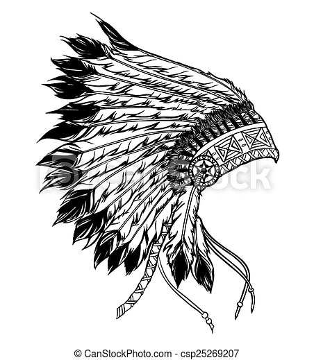 Native american indian chief headdress. Vector illustration in b - csp25269207