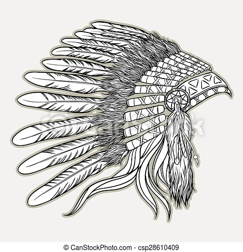 Native american indian chief headdress. Vector illustration in black and white style - csp28610409