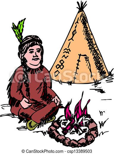 Native American Indian Chief Mascot - csp13389503