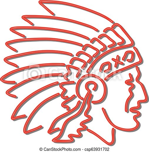 Native American Indian Chief Neon Sign - csp63931702