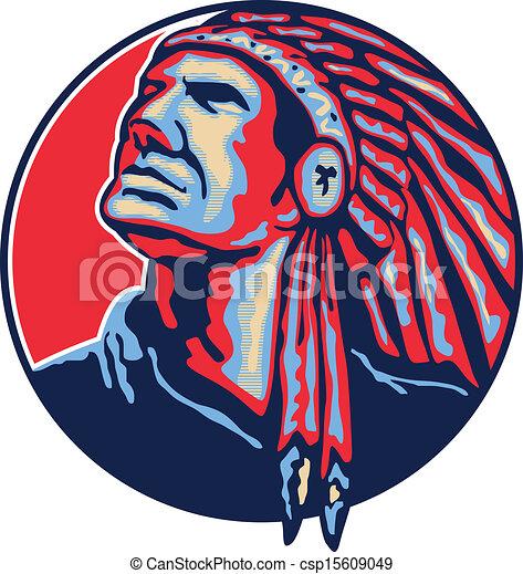 Native American Indian Chief Retro - csp15609049