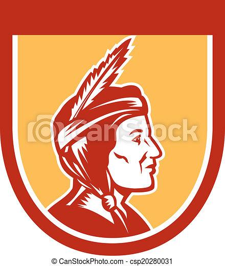 Native American Indian Chief Shield Retro - csp20280031