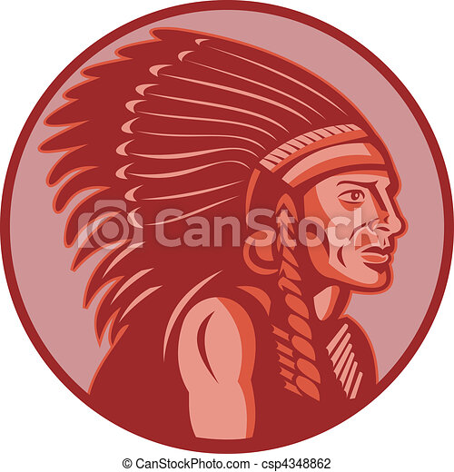 native american indian chief side view - csp4348862