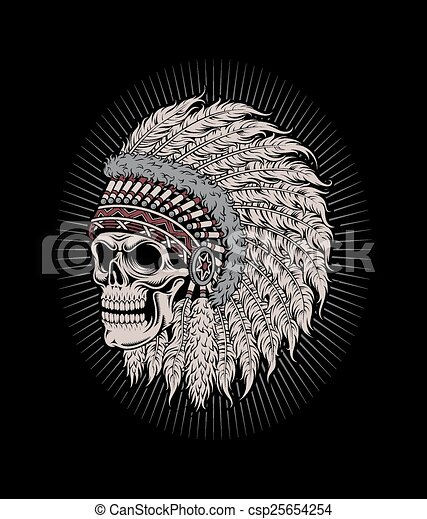Native american indian chief skull csp25654254