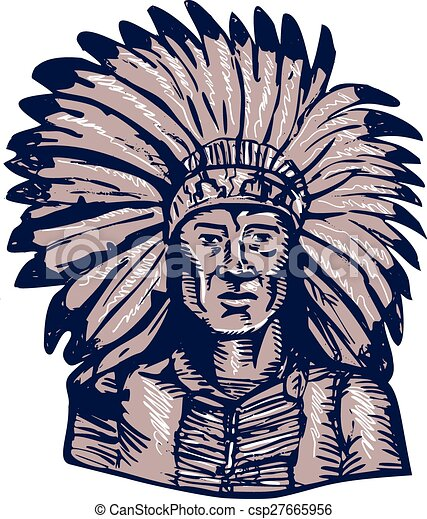 Native American Indian Chief Warrior Etching - csp27665956